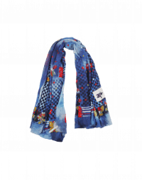 GUSTO: Sciarpa blu con mix di stampe