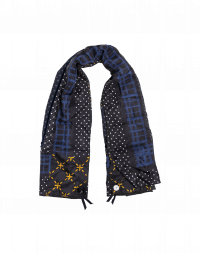 SEQUENT: Silk scarf in navy with geometric patterns