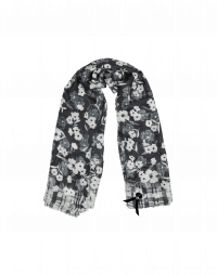 COORDINATE: Black and ivory floral scarf in wool silk
