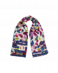 MERRIMENT: Brushstroke print scarf in wool silk
