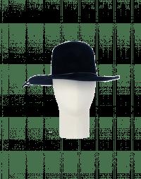 BRIMFUL: Wide brim hat in navy blue wool felt