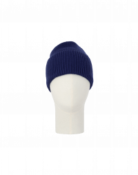FIZZLE: Rib knit beanie hat in mid-blue