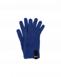 FUMBLE: Short knitted gloves in mid blue