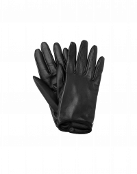TOUCHING: Short leather gloves in black