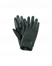 TOUCHING: Short leather gloves in winter green