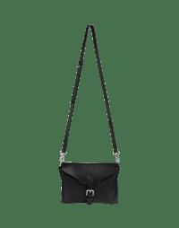 ACQUIRE: Black leather pouch belt-bag