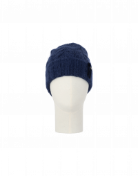 SMOULDER: Cable knit beanie hat in mid-blue