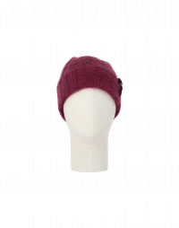 SMOULDER: Rib knit beanie hat in burgundy