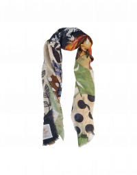 STORYTELL: Scarf in modal and silk with floral and polka dot mixed print