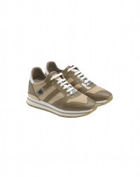 FRANTIC: Beige patent leather luxe sneakers