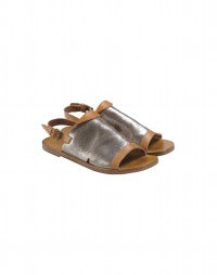 GURU: Silver and tan open toe leather sandal