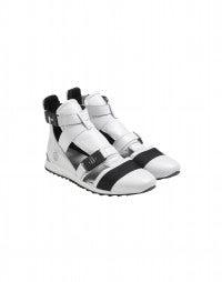 MIKO: White cutaway sneaker boot