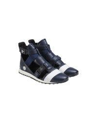 MIKO: Navy blue cutaway sneaker boot