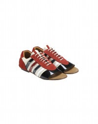 TROPEZ: Red, white and blue open toe shoes