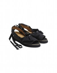 BOWTIE: Black bowtie wedge sandals