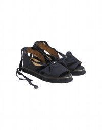 BOWTIE: Navy blue bowtie wedge sandals