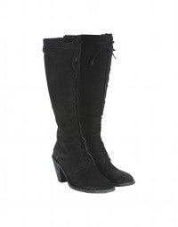 SALOON: Black suede stacked heel boots