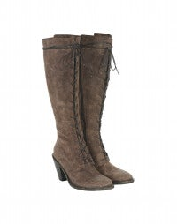 SALOON: Brown suede stacked heel boots