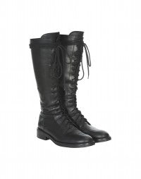 FUTURIST: Tall lace-up flat leather riding boots