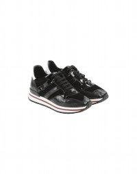 FRANTIC: Schwarze Sneakers aus Leder mit Einsätzen aus Samt