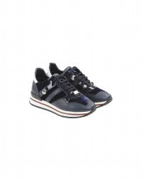 FRANTIC: Navy velvet luxe sneakers