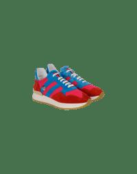 FRANTIC: Sneaker in camoscio e tessuto rosso, fucsia e azzurro