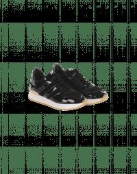FRANTIC: Black patent and eco fur sneakers