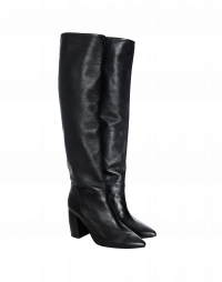 FORTITUDE: Long, high heel boots in black leather