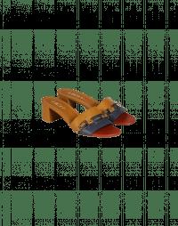 ACUTE: Tricolour slip-on block-heel mules