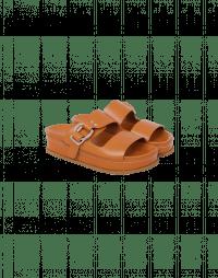 GLIDE: Sandali a ciabatta in pelle marrone