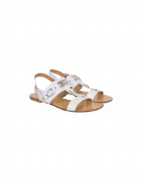 TEMPTRESS: White T-bar sandals