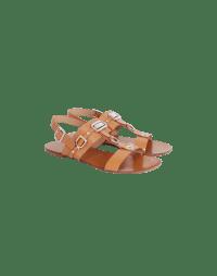 TEMPTRESS: Tan T-bar sandals