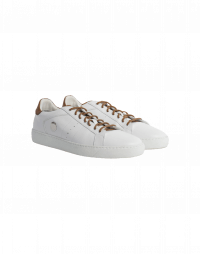 AGILITY: Classic sneakers in ivory leather with tan details