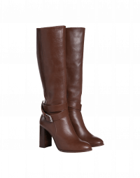 POSTURE: Knee boots with high stacked heel
