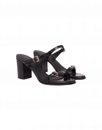 UP-RISING: Sandali con tacco alto in pelle nera