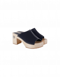HIGHLIGHT: high heel wooden clogs with navy leather vamp