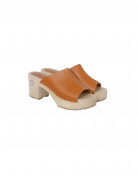 HIGHLIGHT: high heel wooden clogs with tan leather vamp