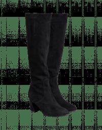 BRAVE: Stivali alti in camoscio nero con tacco Luigi