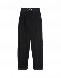 HASTEN: Flock stripe pleated front pant