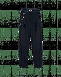 HASTEN: Pantaloni blu navy con pieghe