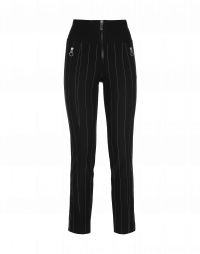 MINIMALIST: Black and white pinstripe pant with rib waist