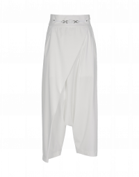 CONTRARY: White jersey wrap over side zip pants