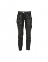 COBRA: Black tech snakeskin print pants