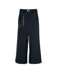 GIULIA: Navy blue wide 3/4 leg pants