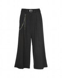 GIULIA: Metallic pinstripe wide 3/4 leg pants