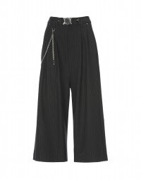 GIULIA: Black cropped pinstripe low maintenance flares