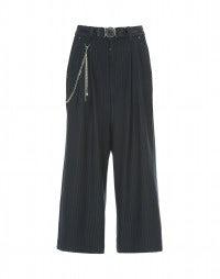 GIULIA: Pantaloni ampi gessati blu a campana