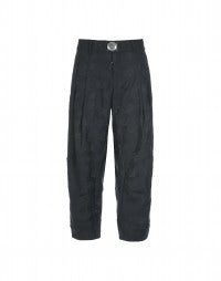 DHOW: Navy blue floral-edge pants