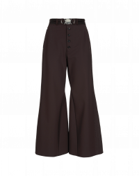 YEARN: Burgundy flat front flares with buttoned fly