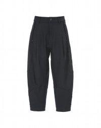 FAYE: Pantaloni blu navy alla caviglia con inserti broccati